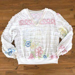 VINTAGE Women's Floral V-Neck Pullover Sweater